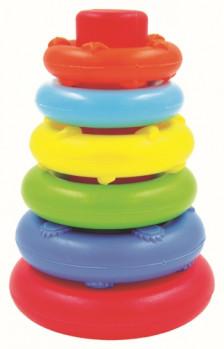 Pyramide 5 anneaux maxi toys 10075854 Pyramide 5 anneaux Ouatoo BabyBébé arrivera-t-il à empiler ces 5 anneaux de couleur sur la pyramide… par rang de de taille ? Ultra légers et faciles à manipuler pour votre bébé