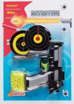 Revolver à billes + 2 cibles maxi toys 10165579 2 pistolets qui lancent de petites billes en plastique + 2 cibles en carton qu'il faut viser