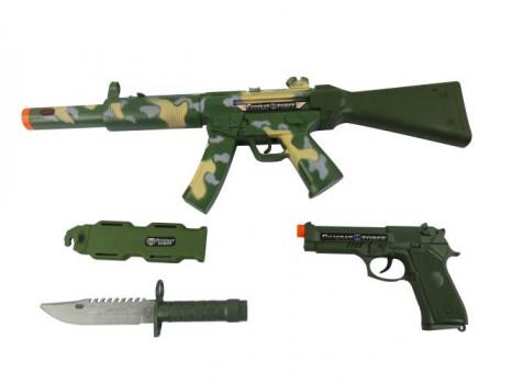 Set militaire : Fusil + accessoires maxi toys 10410213 2 assortiments. A partir de 3 ans. Piles (3xAA) incluses.
