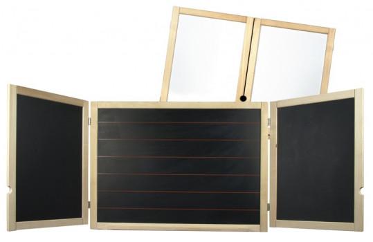 Tableau noir 3 volets + 2 volets magnétiques maxi toys 10534567 Tableau mural noir 3 volets + 2 volets magnétiquesComme à l'école
