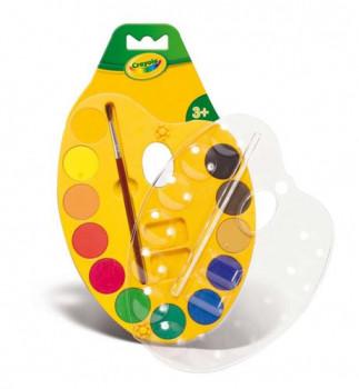 Palette de peinture 12 couleurs maxi toys 10625262 La palette de peinture Crayola comprend 12 couleurs vives qui satisferont les jeunes artistes. Un pinceau est fourni avec la palette. +3ans