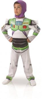Toy Story - Déguisement Buzz l'Eclair 5/6 ans maxi toys 10694423 Déguise toi en Buzz l'Eclair et imite son cri de guerre 'Vers l'infini et au-delà'.comprend: - une combinaison imprimée de la tenue spatiale de Buzz l'Eclair- Ailes amovibles au dos qui se fixent grâce à des scratchs- Cagoule violette qui se ferme sous le menton pour plus de confort. *Chaussures non inclusesTaille 5/6 ansExiste également en taille 3/4 ans (ref. 10.618.181)