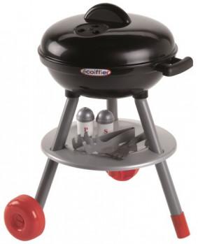 Barbecue sur pieds avec accessoires maxi toys 10704996 Un barbecue roulant avec couvercle et plein d'accessoires : 6 morceaux de charbon