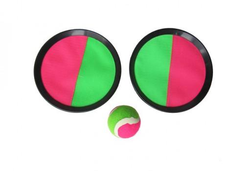 Catch ball maxi toys 10721389 Set très ludique qui développe l'agilité et la dextérité. La balle s'accroche aux raquettes grâce à leur revêtement auto-agrippant
