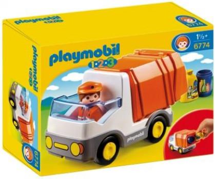 Camion poubelle - PLAYMOBIL 1.2.3 - 6774 maxi toys 10768434 Benne arrière avec fonction de tri.