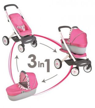 Poussette 4 roues + landau Bébé Confort maxi toys 10831387 Assis ou allongé bien au chaud ? Installe ton bébé comme tu le souhaites dans cette jolie poussette 4 roues qui se transforme en landau grâce à sa nacelle amovible. Ton bébé sera alors protégé du soleil par la capote en tissu ! Poussette 4 roues + nacelle amovible - Pliable. - Poignée