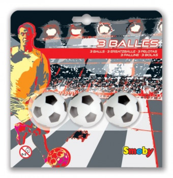 Blister 3 balles baby foot maxi toys 10969612 Set de 3 balles en plastique pour baby-foot. Diamètre 34 mm.