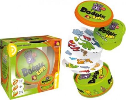 Dobble Kids maxi toys 11246838 2-5 joueurs A partir de : 4 ans Durée de : 15 minutes La boîte de jeu contient 30 cartes de jeu et un livret de règles. Dobble Kids