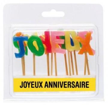 Bougies 'Joyeux Anniversaire' maxi toys 6671898 Bougies 'joyeux anniversaire ' soit 19 bougies pour décorer votre gâteau de manière originale hauteur de la bougie 7cm