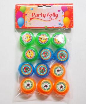 Party Folly -12 yoyos maxi toys 6678402 Un paquet de 12 yoyos colorés