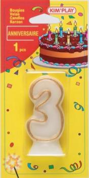 Bougie chiffre 3 maxi toys 8040436 Vous cherchez une bougie pour un anniversaire où le chiffre 3 a sa place? Voici ce qu'il vous faut!