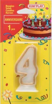 Bougie chiffre 4 maxi toys 8040443 Vous cherchez une bougie pour un anniversaire où le chiffre 4 a sa place? Voici ce qu'il vous faut!