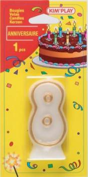 Bougie chiffre 8 maxi toys 8040481 Bougie anniversaire chiffre 8