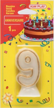 Bougie chiffre 9 maxi toys 8040498 Bougie anniversaire chiffre 9