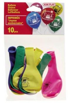 10 Ballons 'Joyeux anniversaire' 10' maxi toys 8041010 10 ballons avec l'inscription 'Joyeux anniversaire'