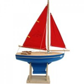 Voilier coque bleue 30 cm Les Jouets Français Voilier coque bleue de 30 cm pour jouer à la plage