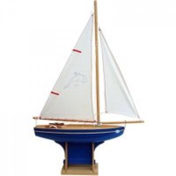 Voilier coque bleue 35 cm Les Jouets Français Voilier en bois de 35 cm pour jouer à la plage