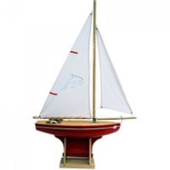 Voilier coque rouge 35 cm Les Jouets Français Voilier en bois idéal pour jouer dans l'eau