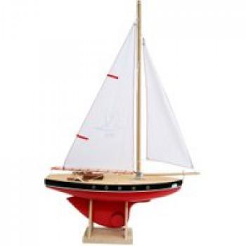 Voilier 501 coque rouge 35 cm Les Jouets Français Voilier en bois de 35 cm idéal pour jouer à la plage