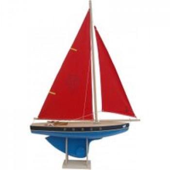 Voilier 503 coque bleue 50 cm Les Jouets Français Voilier en bois de 50 cm pour jouer dans l'eau