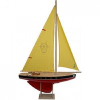 Voilier 503 coque rouge 50 cm Les Jouets Français Voilier en boispour jouer à la plage