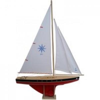 Voilier 504 coque rouge 64 cm Les Jouets Français Voilier en bois idéal pour jouer à la plage