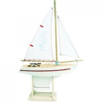 Voilier 701 coque blanche 30 cm Les Jouets Français Voilier en bois pour jouer à la plage