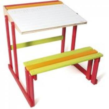 Bureau d'écolier en bois Les Jouets Français Joli bureau d'écolier en bois coloré pour bien travailler