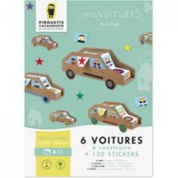 Mes voitures Les Jouets Français 6 voitures à construire + 120 stickers