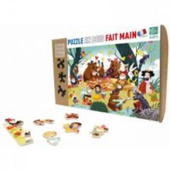 Puzzle - Il était une fois Les Jouets Français Puzzle en bois 50 pièces fait à la main sur le thème des contes