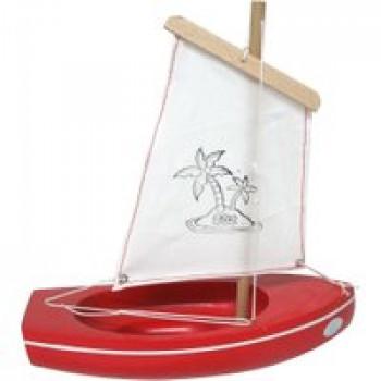 Thonier coque rouge 22 cm Les Jouets Français Thonier en bois de 22 cm parfait pour jouer dans le bain