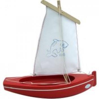Thonier Coque rouge 26 cm Les Jouets Français Thonier en bois idéal pour jouer dans le bain