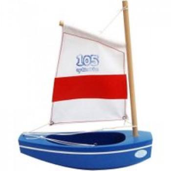 Optimiste Coque bleue Les Jouets Français Optimiste en bois de 22 cm idéal pour jouer à la plage